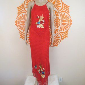 Cache Red Crocheted Embroidered Long Dress L